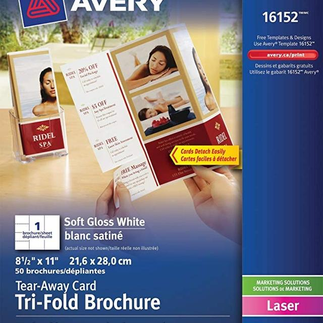 Avery Tri Fold Brochure With 4 Tear Away Card White Soft Gloss