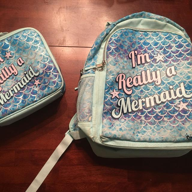 Justice Brand Reversible Mermaid Book Bag Matching Lunch