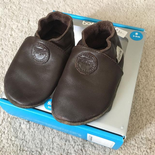 Brown baby moccasin shoes - 3-9mo