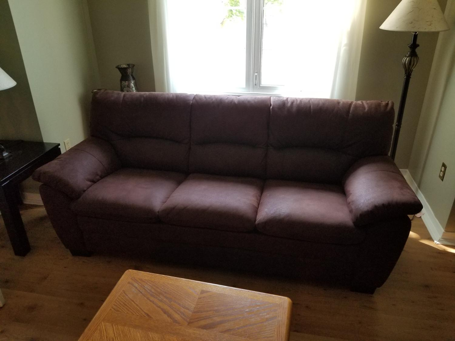 Chocolate brown, micro suede couch and chair 6 months old in excellent  condition. Must sell today moving. $1200