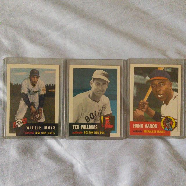 Baseball Cards 1953 Topps Archives Reprintswillie Mays Ted Williams Hank Aaron