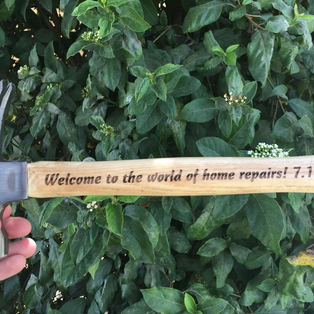 Laser Engraved Personalized Wood Hammer