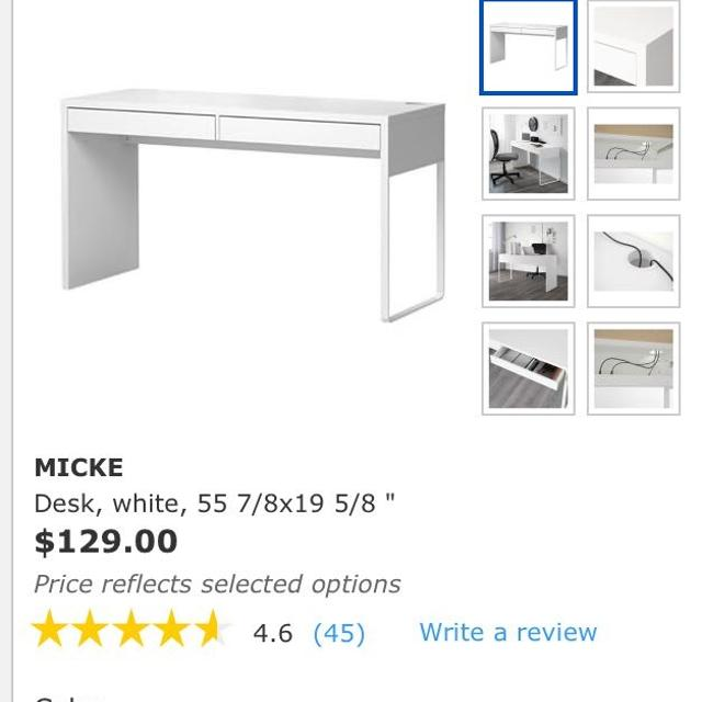 Find More Ikea Micke Desk With Gl Table Top Protector For At