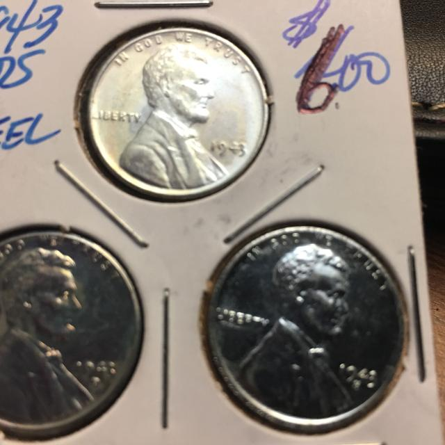 1943 P, D, and S Mint Steel Pennies