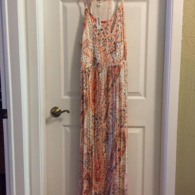 NEW with tags PLUS SIZE 2X OLD NAVY - Orange paisley maxi dress
