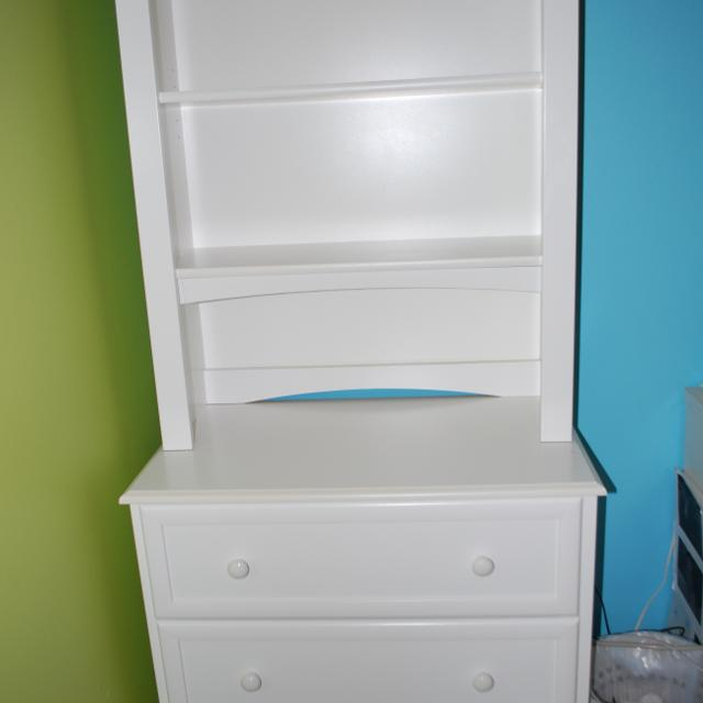 Small bedroom dresser with hutch