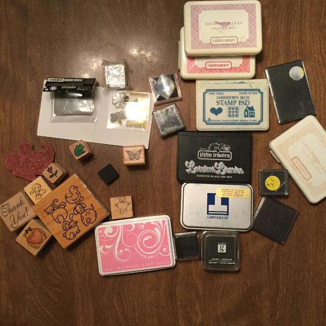 Rubber Stamps And Ink Pads Bundle