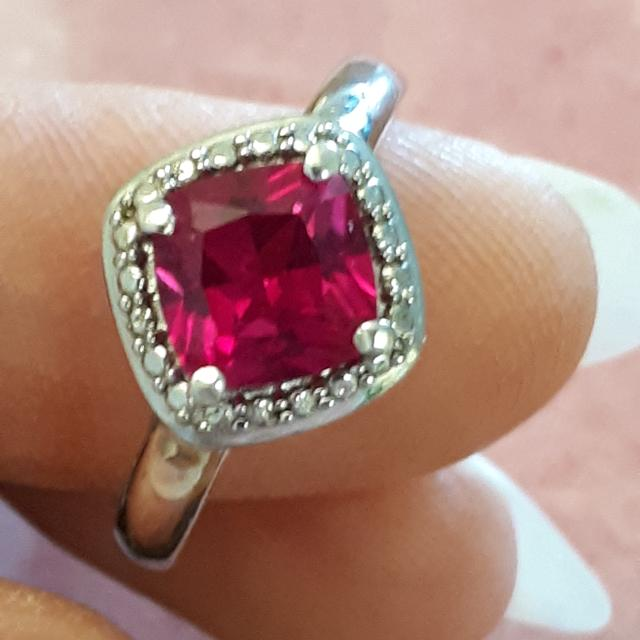 925 sterling silver pink stone ring