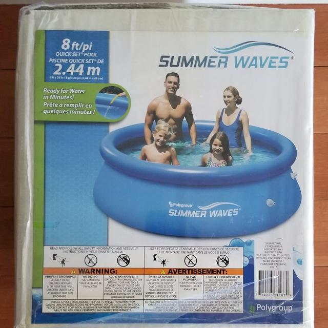 BRAND NEW in sealed box - Summer Waves 8 foot quick set pool