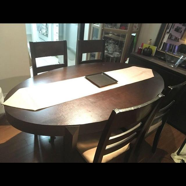 Best Euc Dark Oak Oval Dining Table W Chairs For Sale In Ladner - Oval dining table for 4