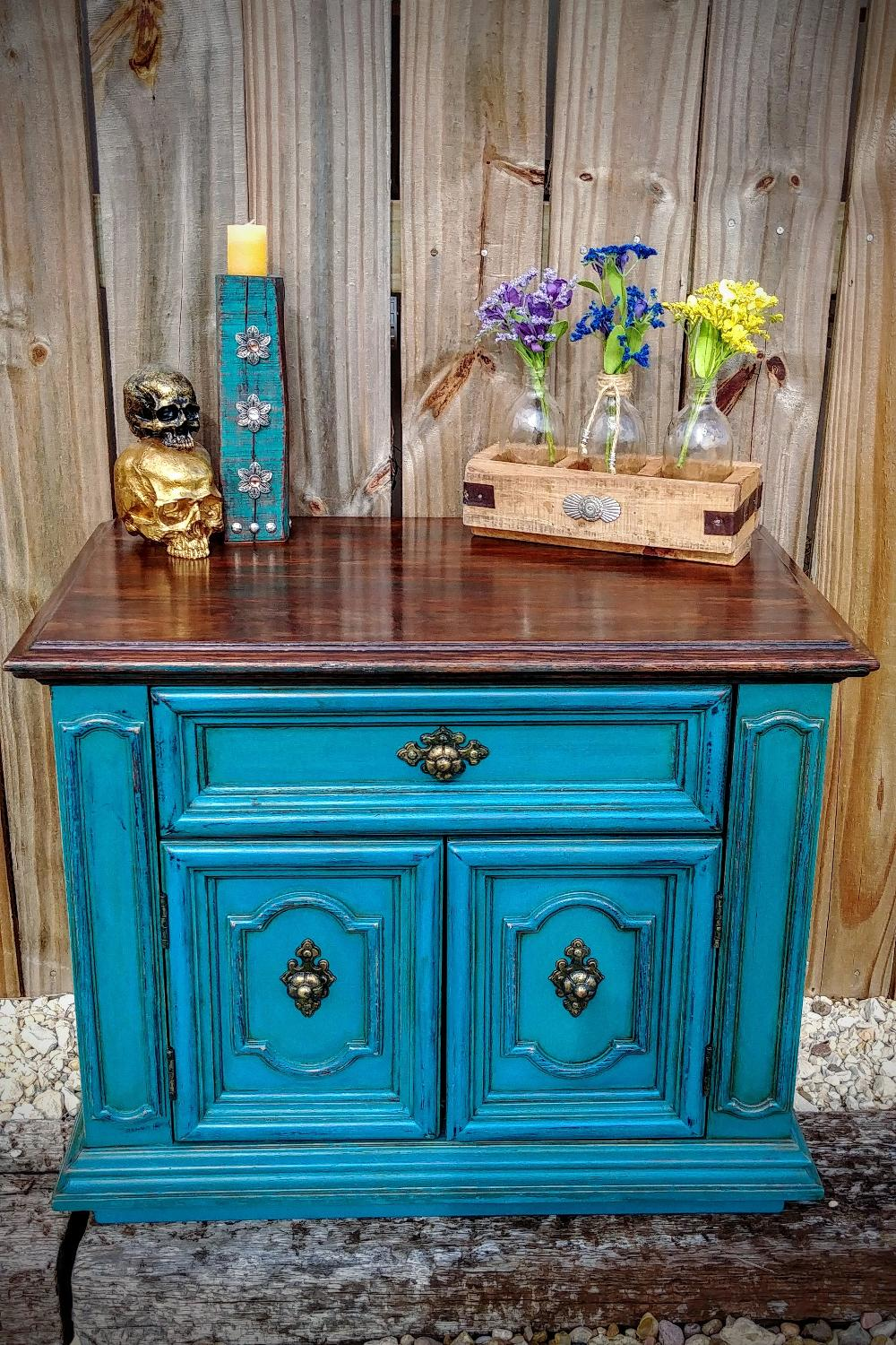 Nightstand Table: Best Custom Refinished Vintage Solid Wood Teal/turquoise