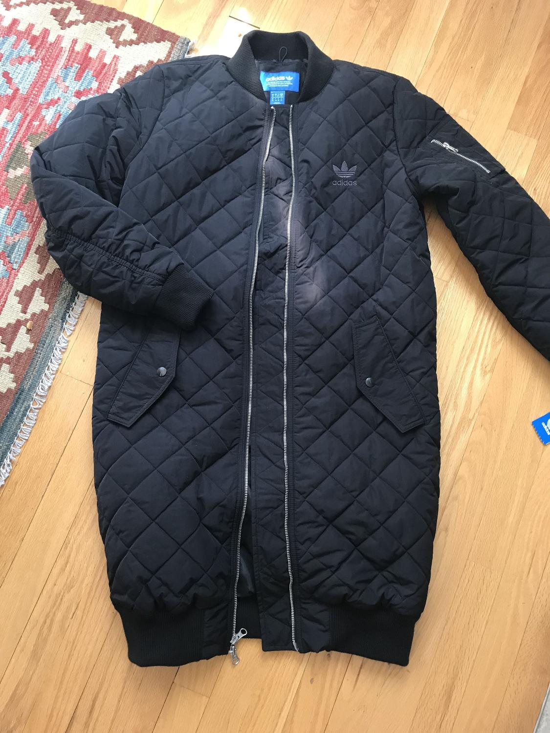 3612c00b1 ADIDAS Originals Long Quilted Bomber Jacket - new w tags