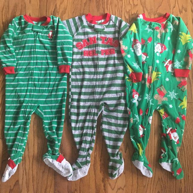 987578043 Find more 18 Month Carter s Holiday christmas Santa Fleece Sleepers ...