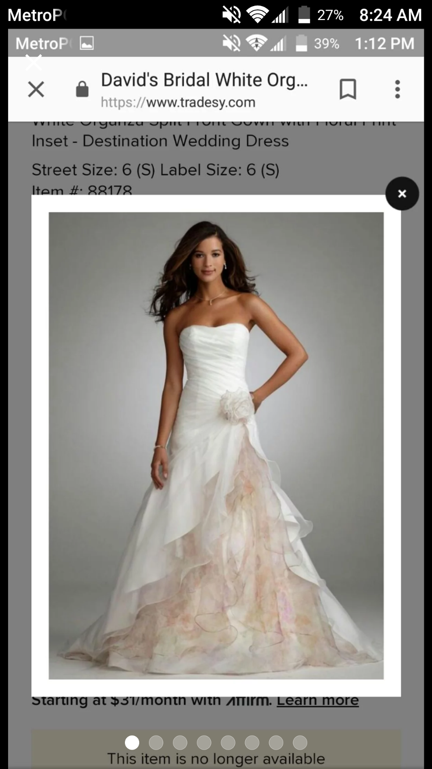 d51968323a Best Organza A-line Davids Bridal Gown Size 8 for sale in Port Huron ...