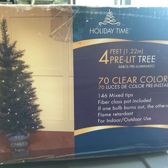 2 four foot christmas trees used on front porch price drop - Used Outdoor Christmas Decorations For Sale