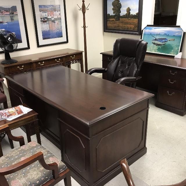 Refinished Kimball Traditional Desk & Credenza
