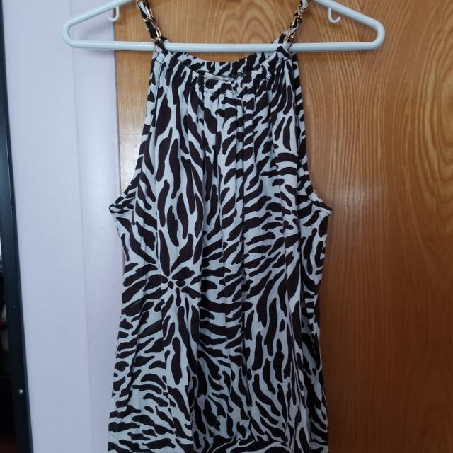 42ff773840 Best Beautiful Michael Kors White brown Halter Top With Gold Chain Detail