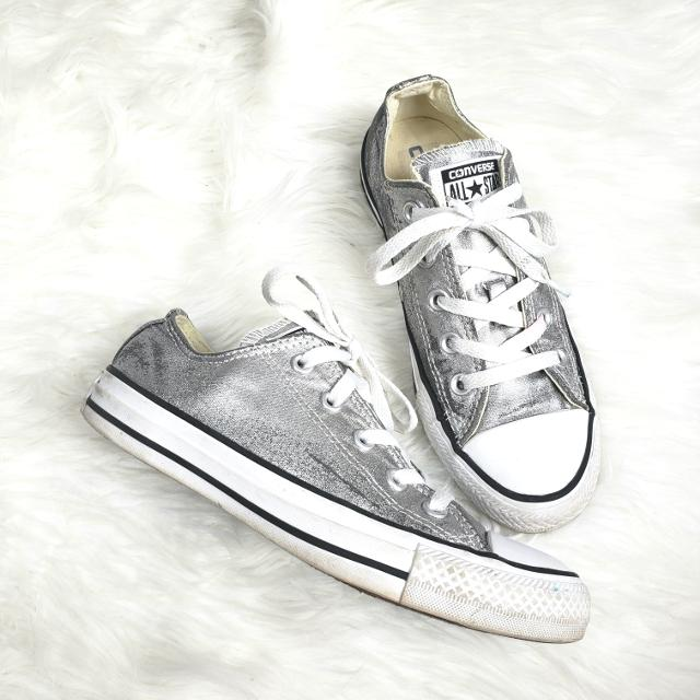 hot product 100% genuine cheap for discount Shiny metallic silver converse size 6