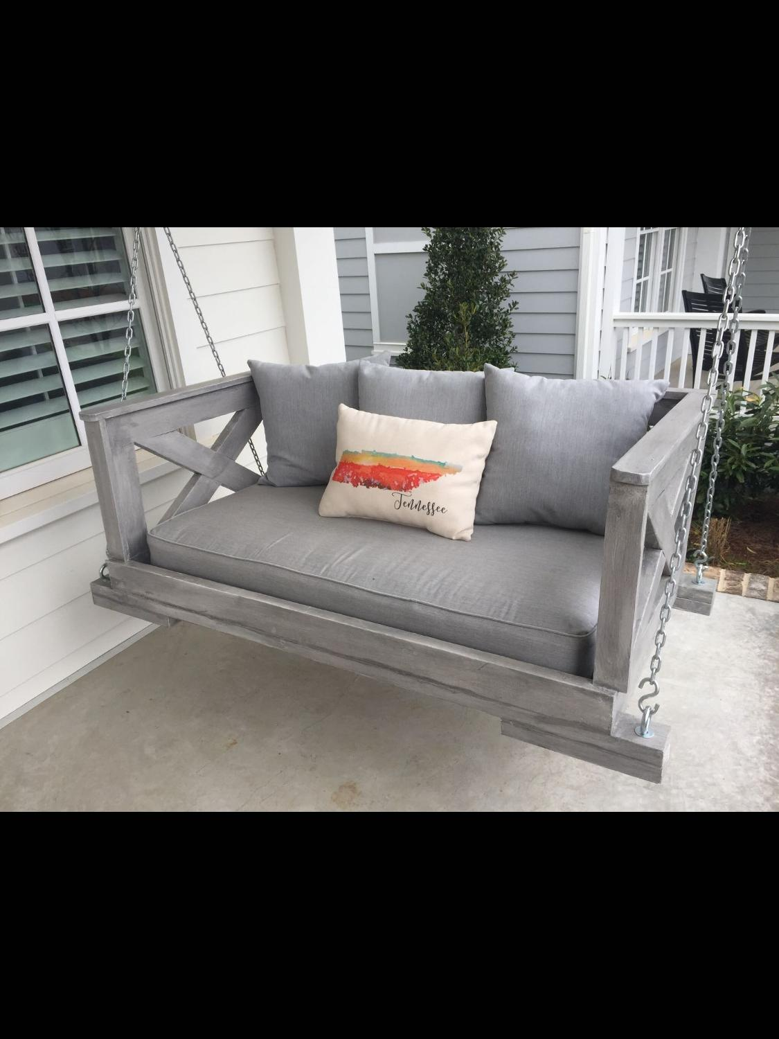 Best Hanging Porch Swing Bed This One Is Made With A Crib Mattress But Can Be Made With Twin And Other Farmhouse Furniture Made To Order For Sale In Hohenwald Tennessee For