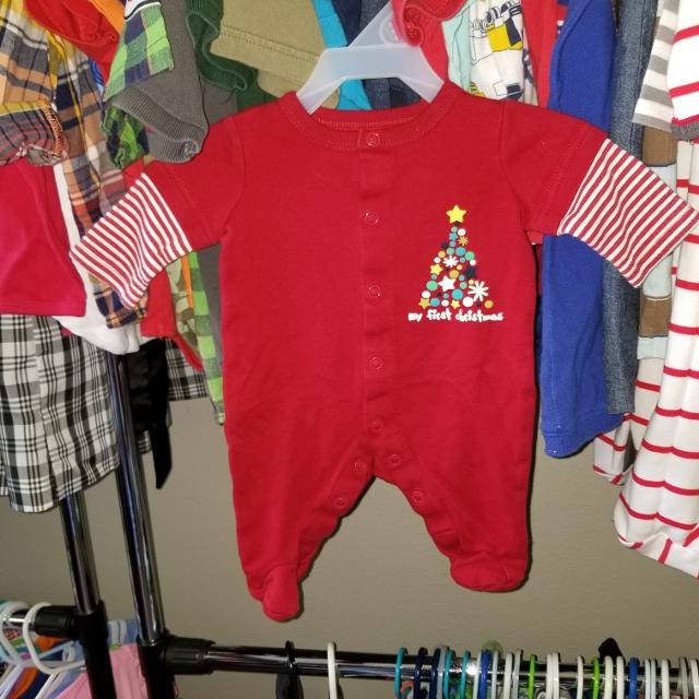 newborn babys first christmas pajamas