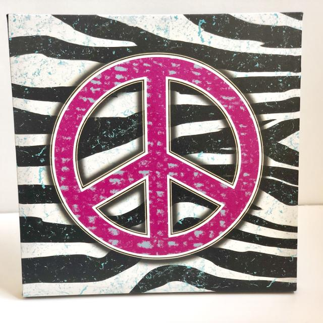 Girls Peace Sign Wall Canvas Bedroom Decor