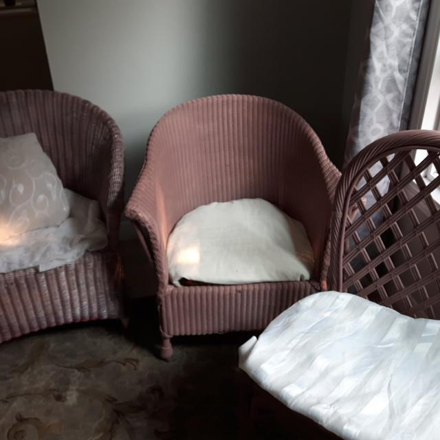 3 Pink Wicker Chairs Cushions In Wash Now