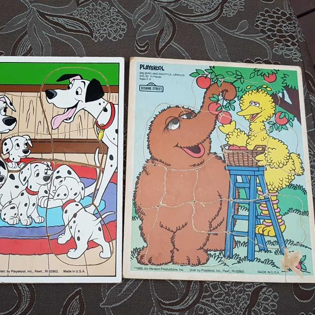 2 Vintage Wooden Puzzles Playskool 101 Dalmations And Sesame Street