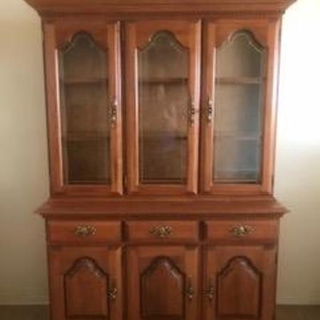 Used, Solid Oak Wood China Cabinet - @$250 for sale  Canada