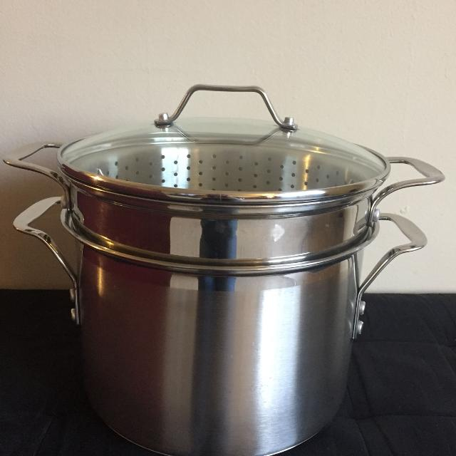 Best Calphalon Stainless 8 Qt Stock Pot Pasta Insert Steamer Basket Lid For Sale In Hendersonville Tennessee 2019