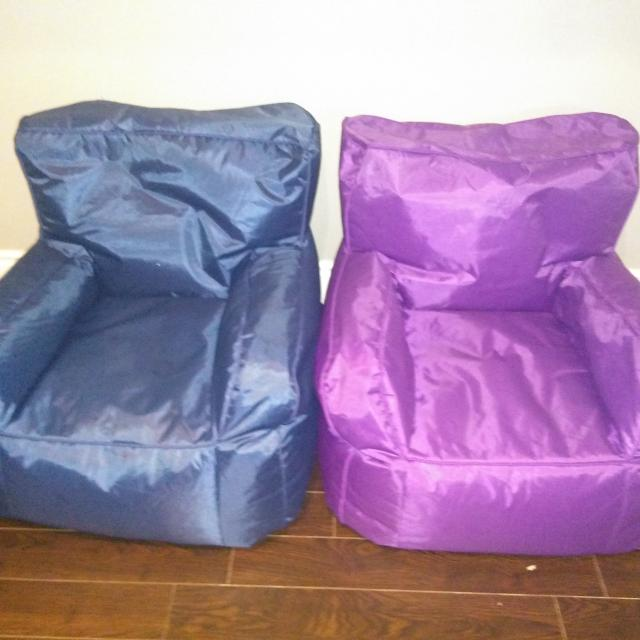 2 Bean Bag Chairs One Blue Chair And Purple
