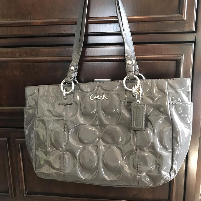Grey Patent Leather Coach Purse