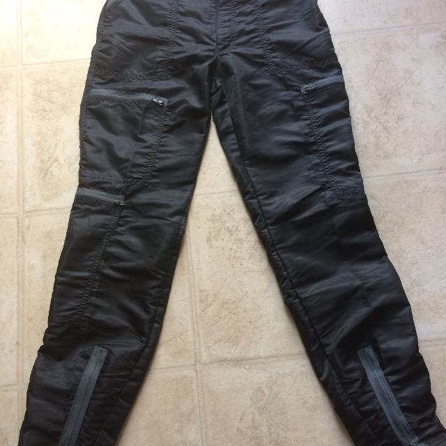 best bugle boy parachute pants black with gray zippers for sale in