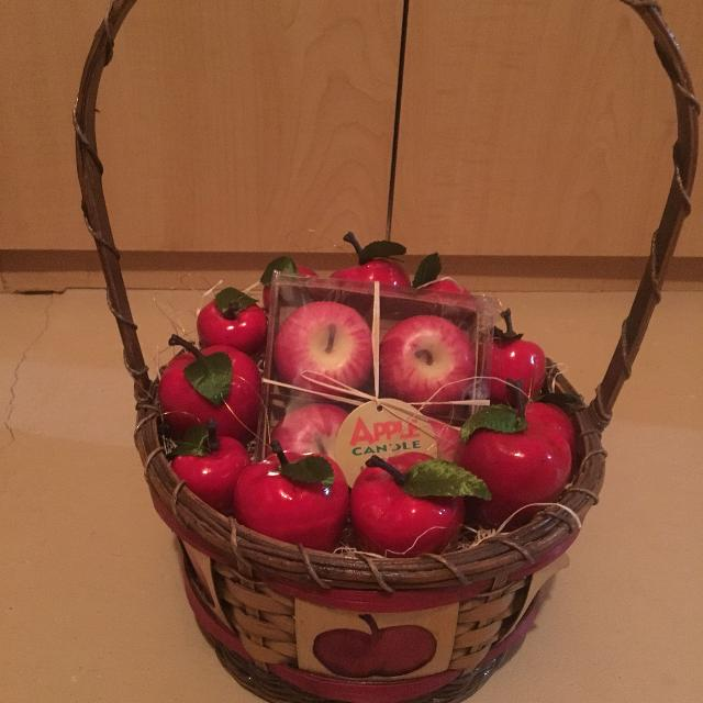 Apple Candles In Middle In Apple Basket With Apple Decorations