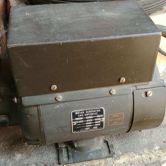 Military Surplus Motor Generator 24vdc to 115vac Wincharger Corp