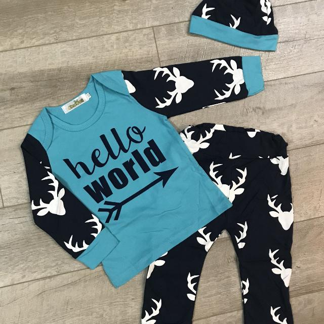 4fd9665d8 Find more Brand New- Baby Boy 'hello World' Buck Print Outfit for ...