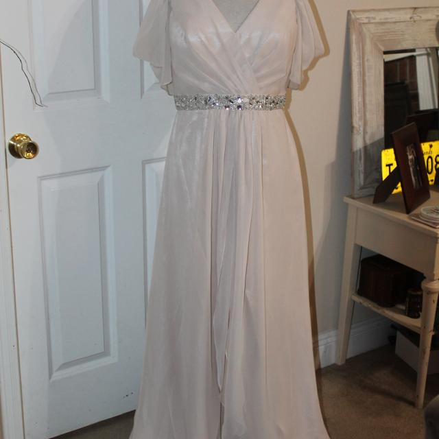 Best 80 Forever Yours Taupe Cold Shoulder Formal Gown Size 12 For