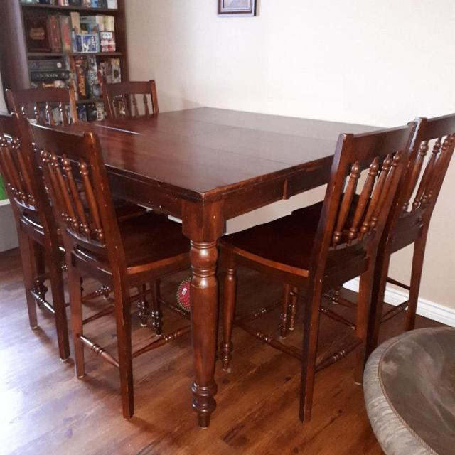 Solid Wood Pub Style Dining Table With 8 Chairs For