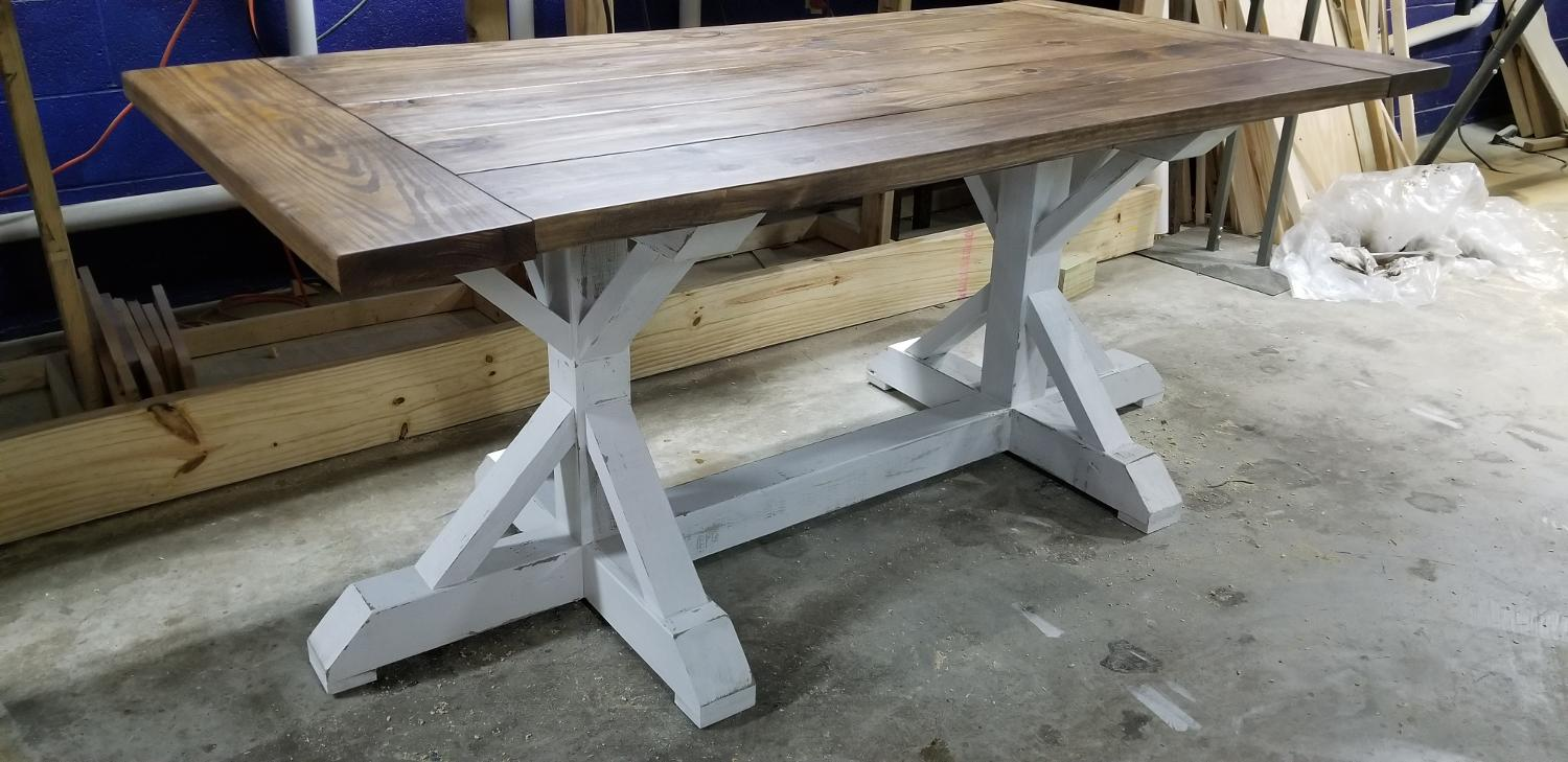 Best New Rustic Tri Trestle Farmhouse Table For Sale In