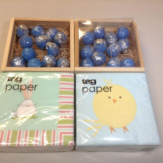 New Easter Tag decor napkins and egg candles