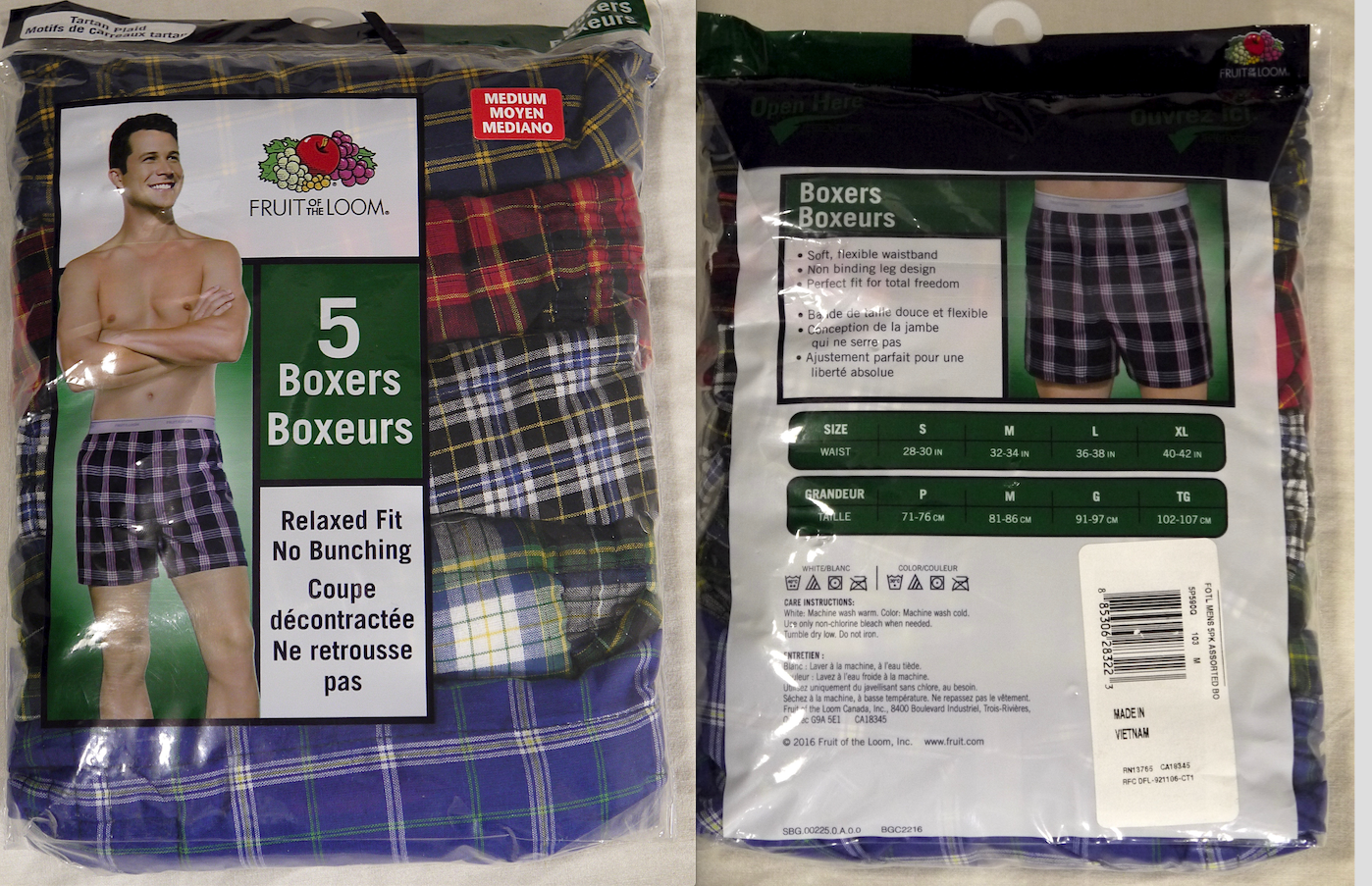 Laver Le Blanc Temperature new 5 pack mens boxers fruit of the loom size m
