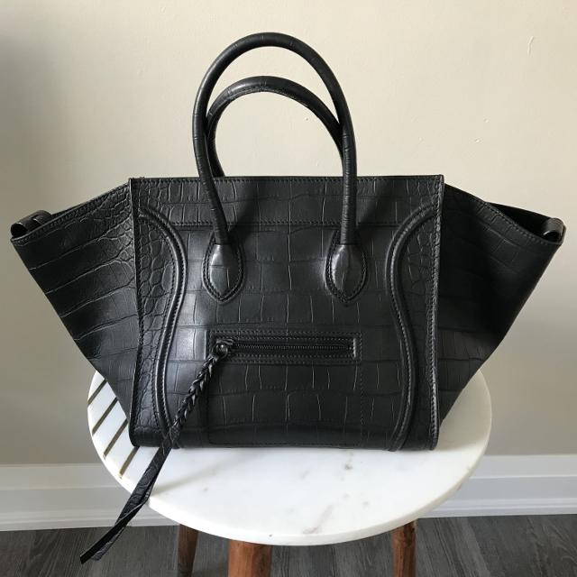 Find more Celine Phantom Luggage Croc Embossed Black Tote for sale ... 9482a636cc63f