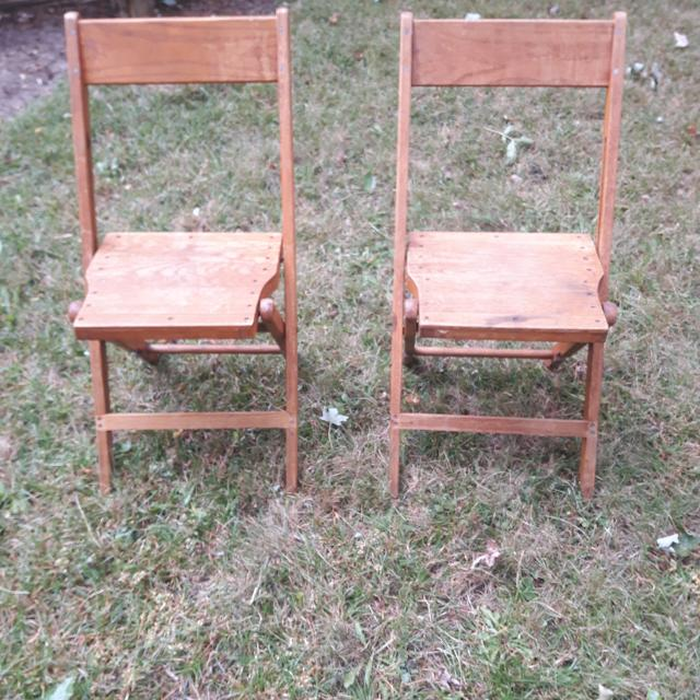 Set Of 2 Antique Wooden Folding Chairs