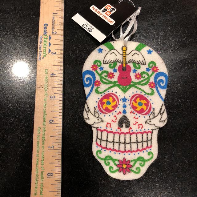 Day of the dead felt skull  Would look great hanging in the center of a  wreath