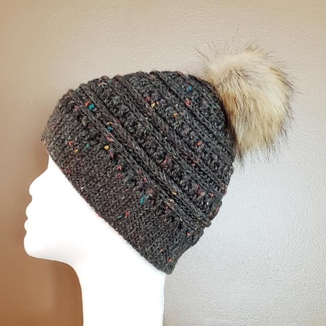 Find more Handmade Crocheted Toque With Faux Fur Pom Pom for sale at ... e5015a0c5173