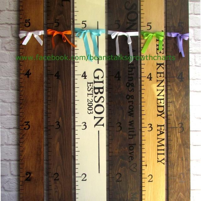Best wood burned painted wooden ruler growth charts for sale in