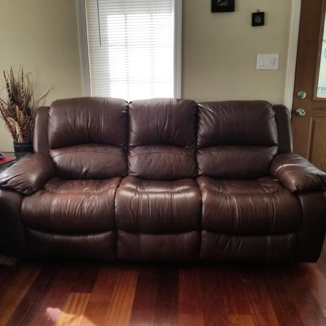 Best Brown Leather Recliner Sofa And A Loveseat For Sale Great