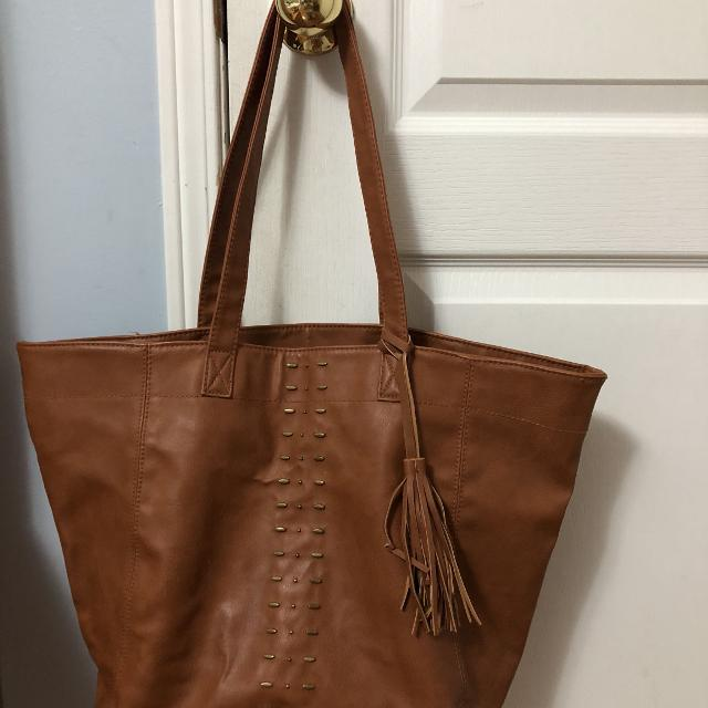 Brown Leather Hollister Tote Bag