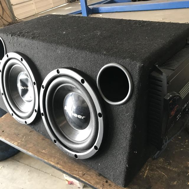 """2 12"""" subwoofers in box with Amp"""