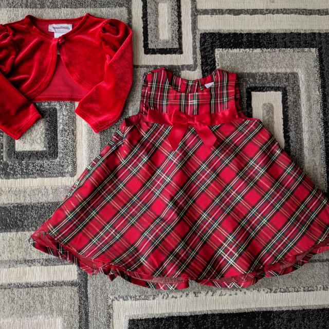 euc 12 month christmas dress and sweater - 12 Month Christmas Dress