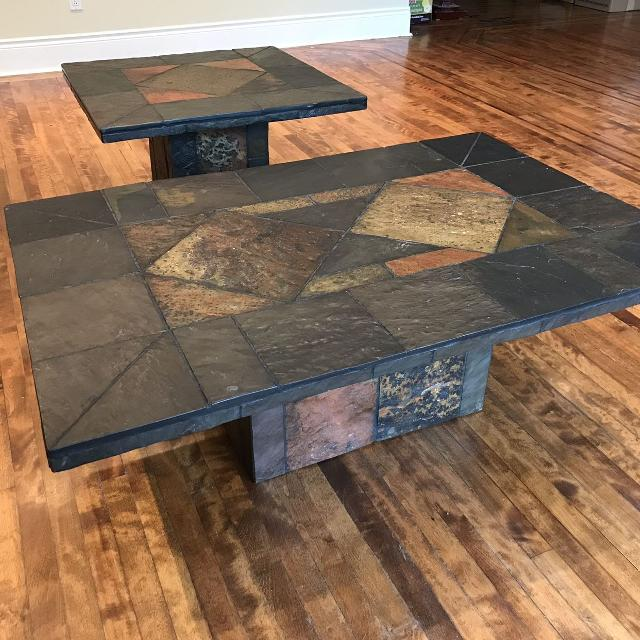 Slate Coffee Table Canada: Best Matching Slate Stone Tile Coffee And Side Table Set